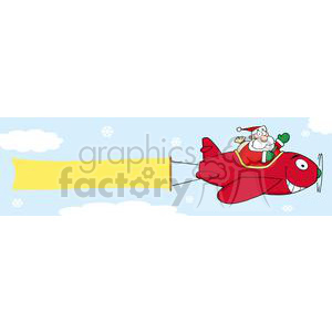 3812-Santa-Flying-With-Christmas-Plane-AndA-Blank-Banner-Attached clipart. Royalty-free image # 381423