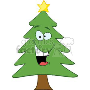 3771-Cartoon-Chrictmas-Tree clipart. Royalty-free image # 381433