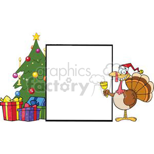 Turkey-Santa-Presenting-A-Blank-Sign-With-Christmas-Tree clipart. Commercial use image # 381438