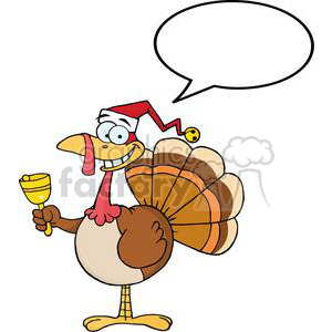 3650-Happy-Turkey-With-Santa-Hat clipart. Commercial use image # 381443