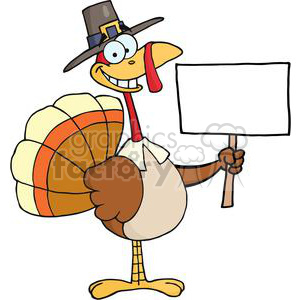 3524-Happy-Turkey-With-Pilgrim-Hat-Holding-A-Blank-Sign clipart. Royalty-free image # 381458