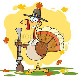 3521-Happy-Turkey-With-Pilgrim-Hat-and-Musket clipart. Royalty-free image # 381463