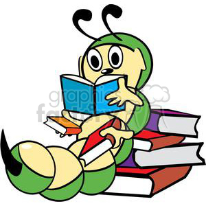 Bookworm reading through a stack of books clipart. Commercial use image # 139324