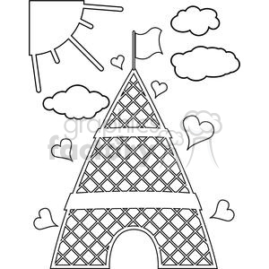 Eiffel Tower Paris France Europe architecture building buildings cartoon hearts heart outline black+white