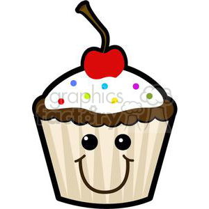 cupcake with sprinkles and a cherry clipart. Commercial use image # 381638