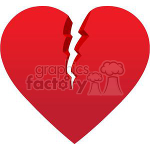 red broken heart clipart. Commercial use image # 381663