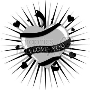 grey heart with black I love you ribbon