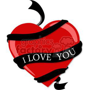 red heart with black I love you ribbon clipart. Royalty-free image # 381688