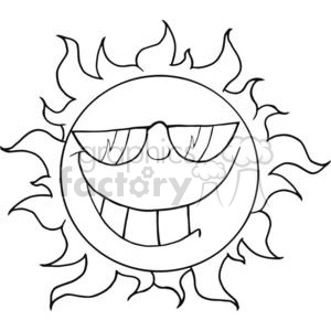 4038-Smiling-Sun-Mascot-Cartoon-Character-With-Sunglasses clipart. Royalty-free image # 381955
