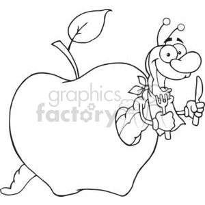 cartoon funny apple apples fruit food snack healthy worm worms  black white
