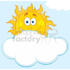 4052-Happy-Sun-Hiding-Behind-Cloud clipart. Royalty-free image # 381980