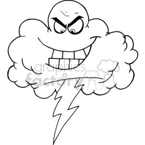 4067-Cartoon-Black-Cloud-With-Lightning clipart. Royalty-free image # 381990