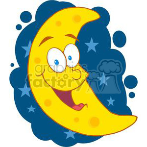 4113-Happy-Moon-Mascot-Cartoon-Character-In-The-Sky clipart. Royalty-free image # 381995