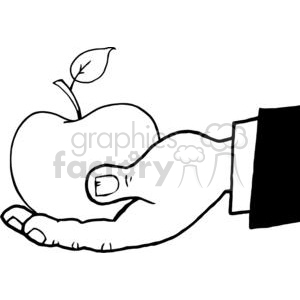 4101-Business-Hand-Holding-Red-Apple clipart. Commercial use image # 382010