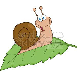 4091-Happy-Cartoon-Snail-On-A-Leaf clipart. Commercial use image # 382015