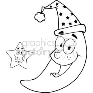 4082-Happy-Star-And-Moon-Mascot-Cartoon-Characters clipart. Commercial use image # 382035