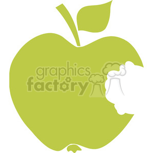 12911 RF Clipart Illustration Bitten Apple Green Silhouette clipart. Commercial use image # 385061