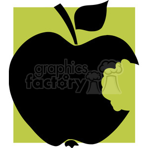 12912 RF Clipart Illustration Bitten  Apple Black Silhouette With Green Background clipart. Royalty-free image # 385071