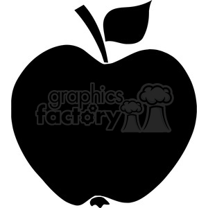 12908 RF Clipart Illustration Apple Black Silhouette clipart. Royalty-free image # 385081
