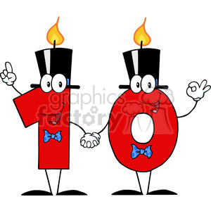 1281212 RF Clipart Illustration Number Ten Candles Cartoon Character clipart. Commercial use image # 385101