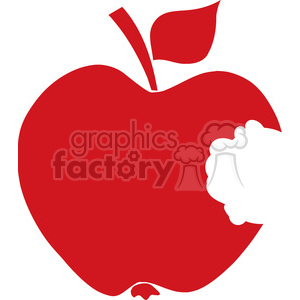 12910 RF Clipart Illustration Bitten Apple Red Silhouette clipart. Royalty-free image # 385121
