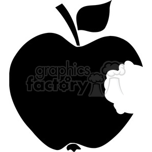 12909 RF Clipart Illustration Bitten Apple Black Silhouette clipart. Royalty-free image # 385131
