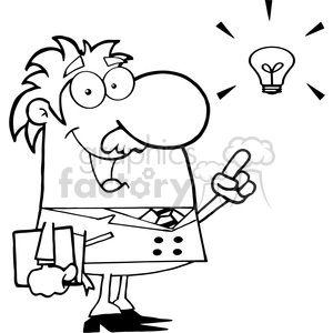 12823 rf clipart illustration professor with an idea