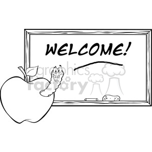 cartoon funny education school learning apple worm character happy welcome back to black white