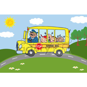 5052-Clipart-Illustration-of-School-Bus-Heading-To-School-With-Happy-Children clipart. Royalty-free image # 385201