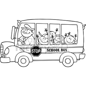 cartoon funny education school learning bus students black white