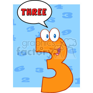 cartoon funny education school learning numbers character happy 3 three orange