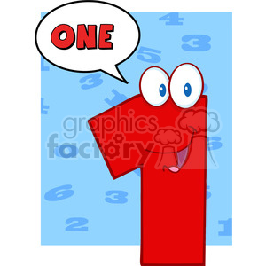 4970-Clipart-Illustration-of-Number-One-Cartoon-Mascot-Character-With-Speech-Bubble