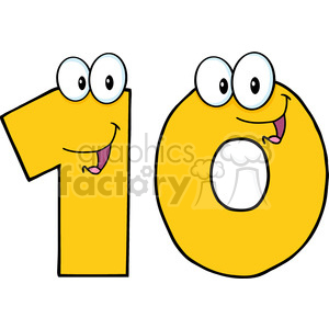 5026-Clipart-Illustration-of-Number-Ten-Cartoon-Mascot-Character clipart. Commercial use image # 385271