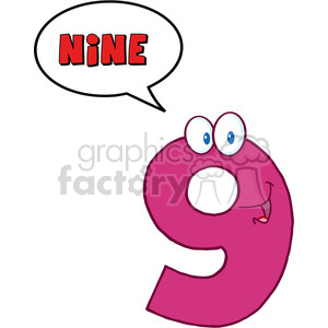 5023-Clipart-Illustration-of-Number-Nine-Cartoon-Mascot-Character-With-Speech-Bubble clipart. Commercial use image # 385281