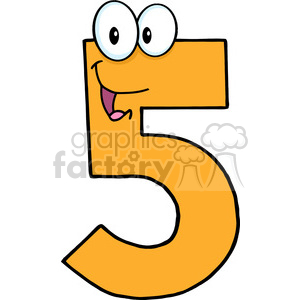 cartoon funny education school learning numbers character happy 5 five orange