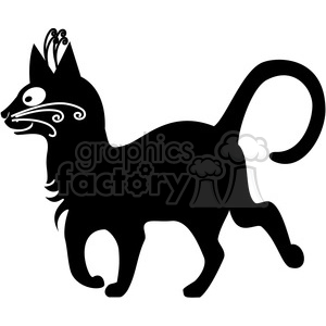 vector clip art illustration of black cat 086 clipart. Commercial use image # 385311