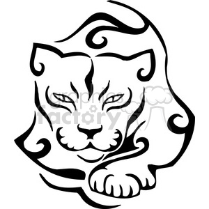 vector black+white animals wild outline vinyl-ready cat cougar tattoo