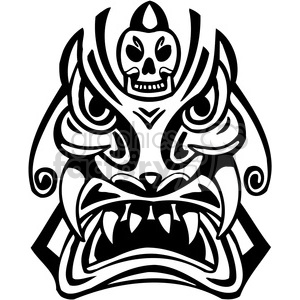 ancient tiki face masks clip art 044