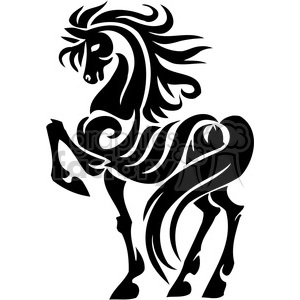 vinyl-ready black+white horse tribal tattoo design