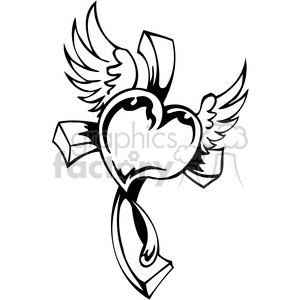 christian religion heart cross 094 clipart. Commercial use image # 386026