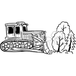Bulldozer Destroying A Forest Clipart Royalty Free Gif
