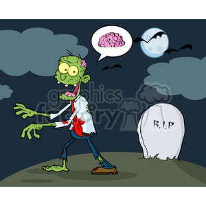 5079-Cartoon-Zombie-Walking-With-Hands-In-Front-And-Speech-Bubble-With-Brain-Royalty-Free-RF-Clipart-Image clipart. Royalty-free image # 386335
