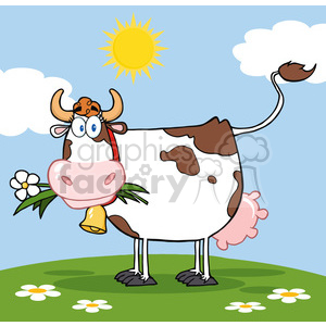 Dairy Cow With Flower In Mouth On A Meadow clipart. Commercial use image # 386471