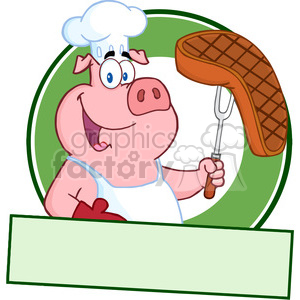 Happy Pig Chef Holding A Steak On Fork Over A Blank Banner clipart. Commercial use image # 386491