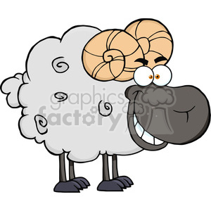 Happy-Black-Ram-Cartoon-Mascot-Character clipart. Royalty-free image # 386511