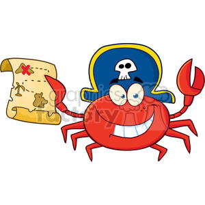 Pirate Crab Holding Treasure Map clipart. Commercial use image # 386521