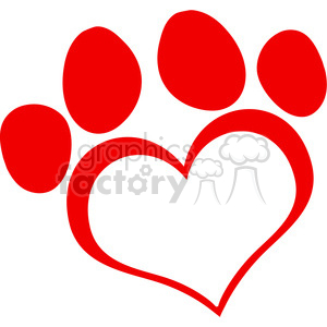 Red Love Paw Print clipart. Commercial use image # 386541