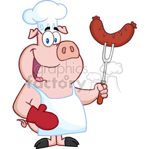Happy Pig Chef Cartoon Mascot Character With Sausage On Fork clipart. Commercial use image # 386561