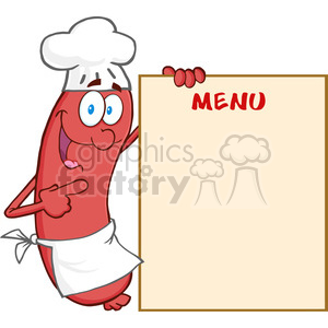 Happy-Sausage-Chef-Cartoon-Mascot-Character-Showing-Menu clipart. Commercial use image # 386591