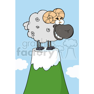 Ram Cartoon Mascot Character On Top Of A Mountain Peak clipart. Commercial use image # 386601